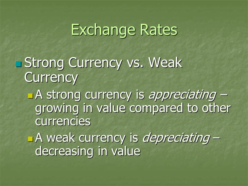 Exchange Rates Strong Currency vs. Weak Currency