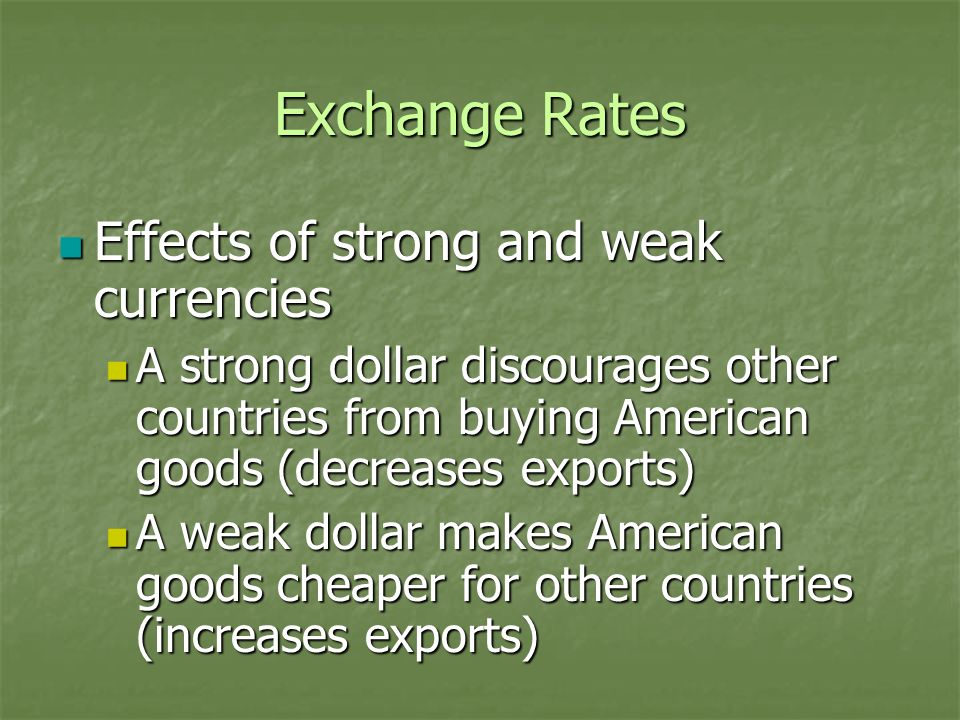 Exchange Rates Effects of strong and weak currencies