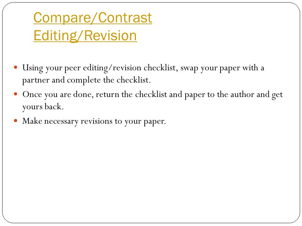 Compare/Contrast Editing/Revision