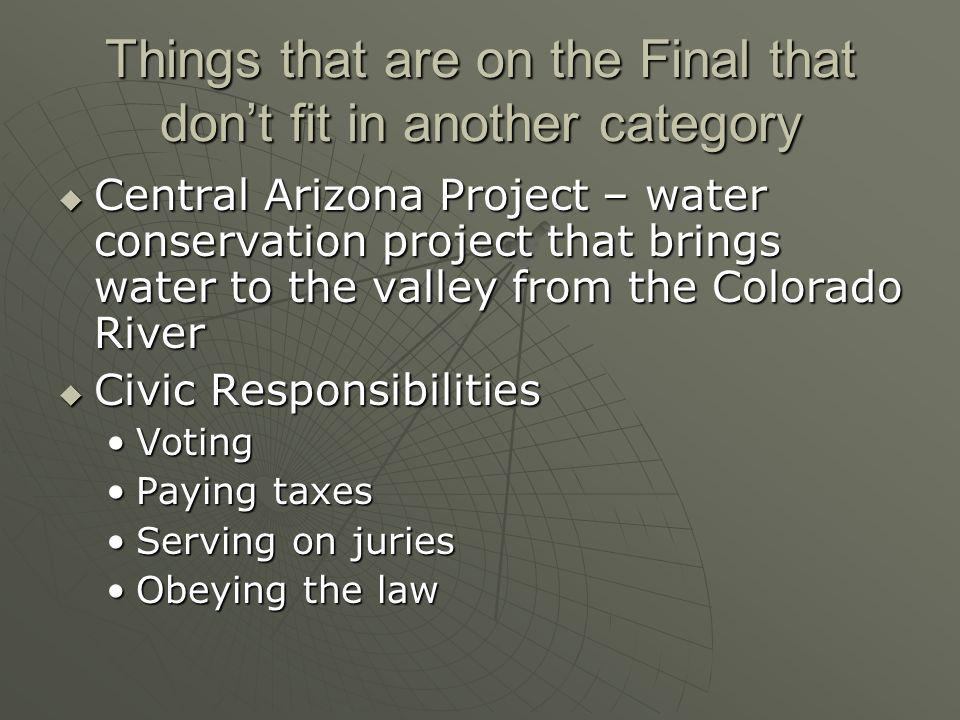 Things that are on the Final that don't fit in another category