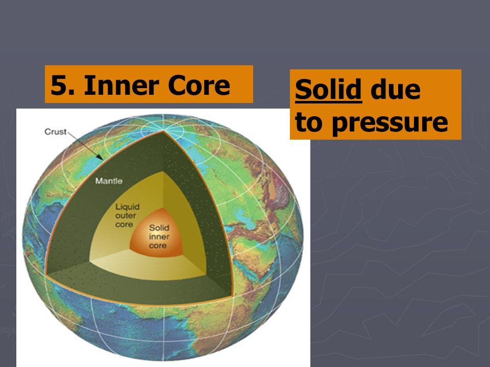 5. Inner Core Solid due to pressure