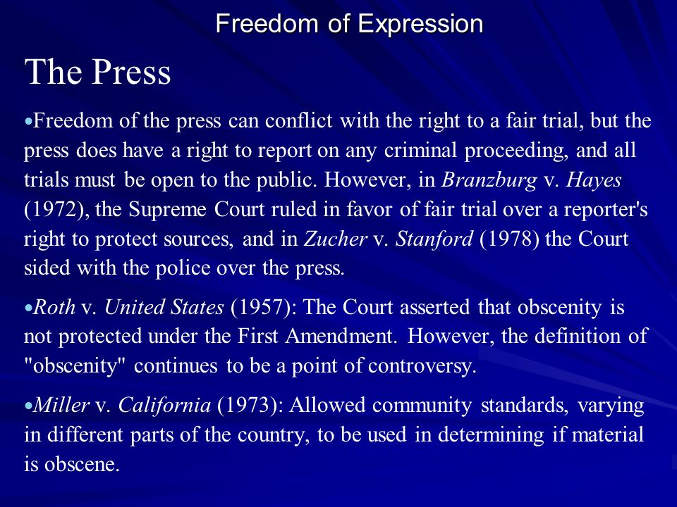The Press Freedom of Expression