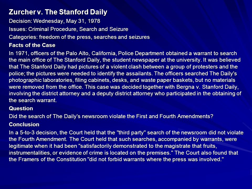 Zurcher v. The Stanford Daily