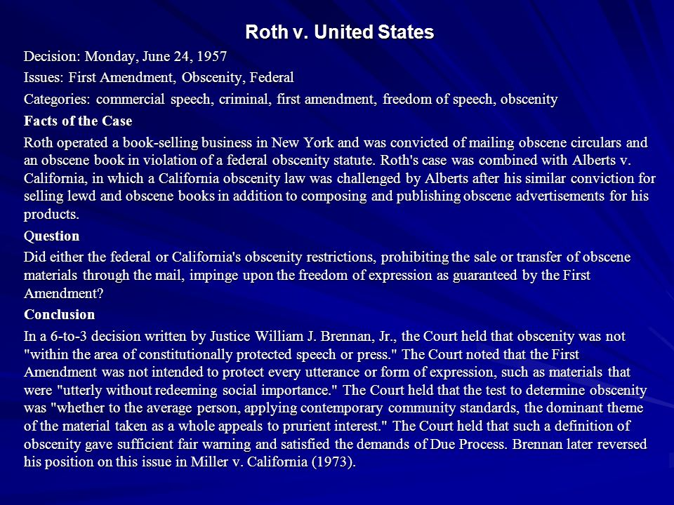 Roth v. United States Decision: Monday, June 24, 1957