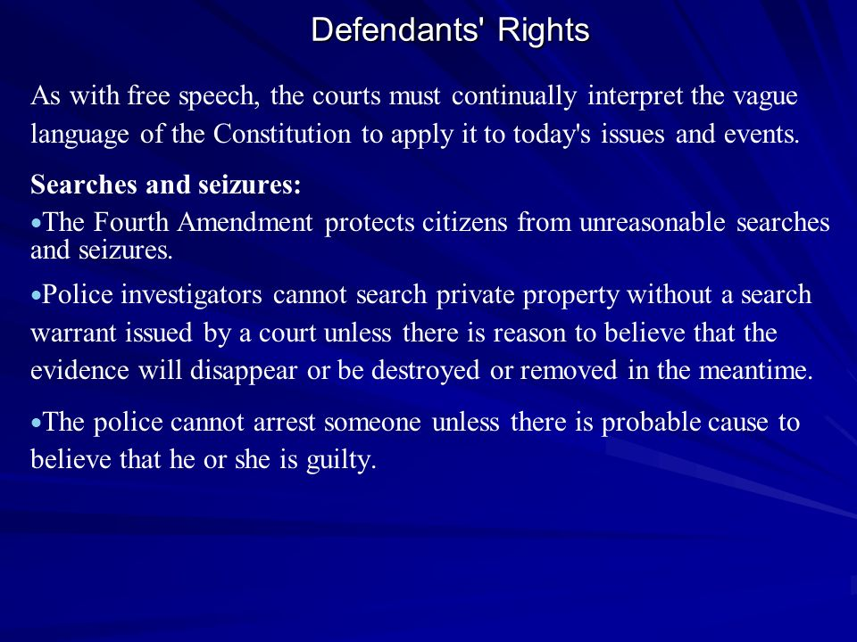 Defendants Rights
