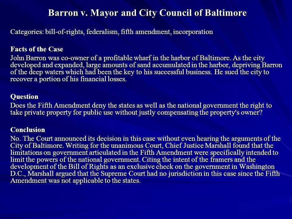 Barron v. Mayor and City Council of Baltimore