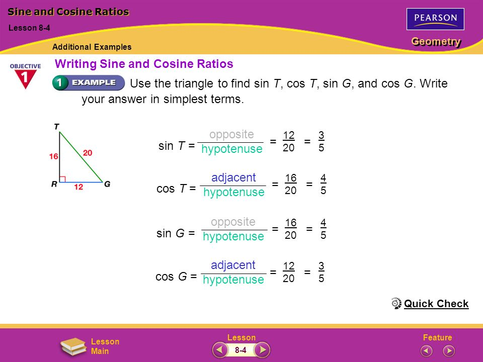 Writing Sine and Cosine Ratios