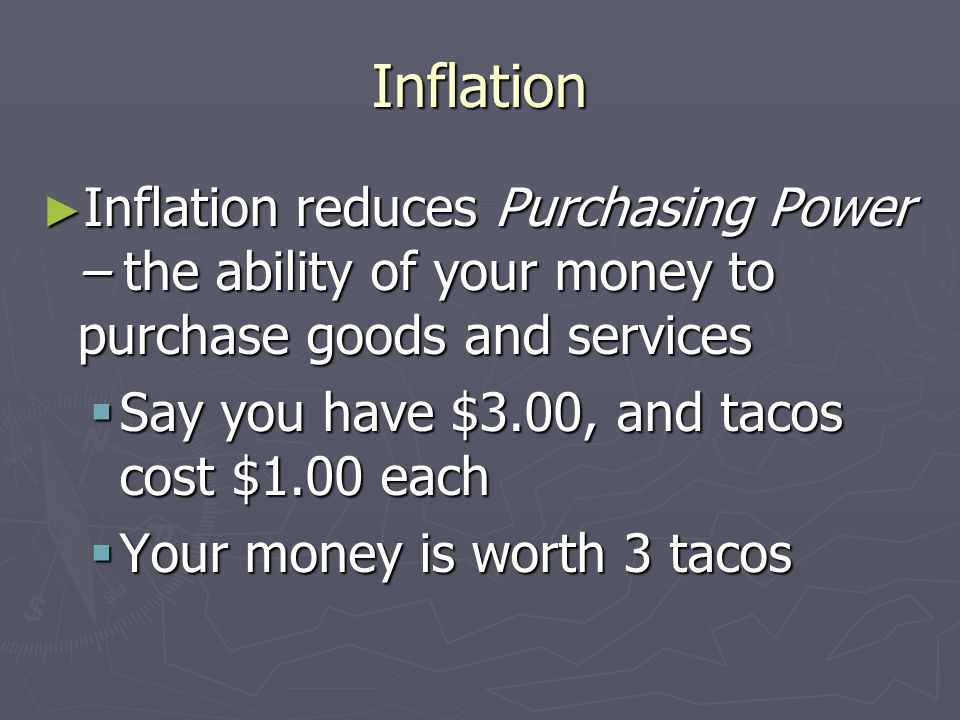 Inflation Inflation reduces Purchasing Power – the ability of your money to purchase goods and services.