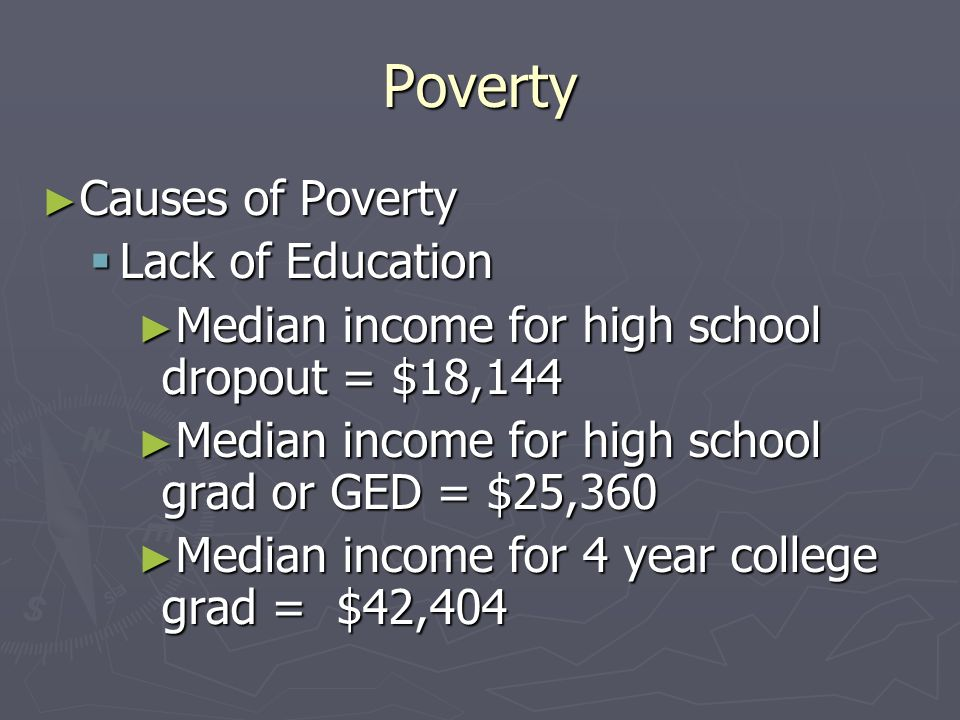 Poverty Causes of Poverty Lack of Education