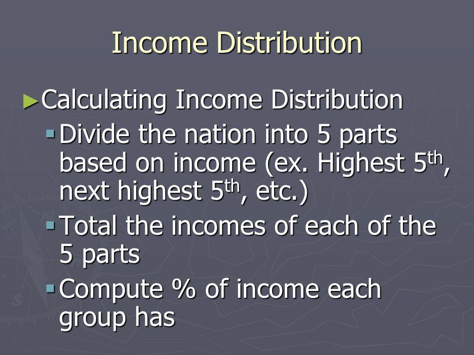 Income Distribution Calculating Income Distribution