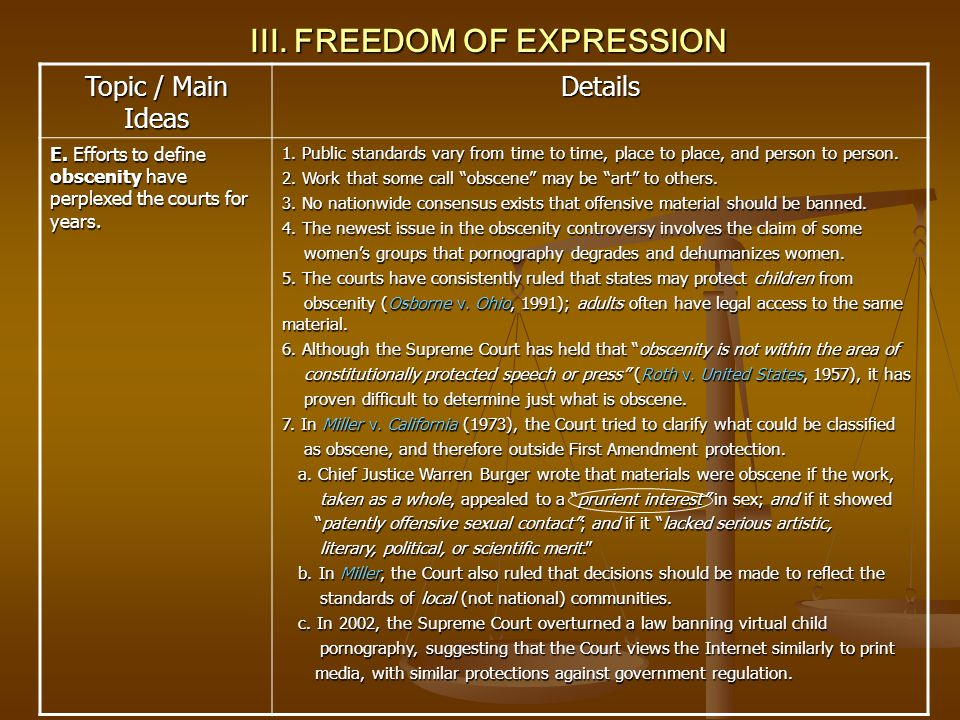 III. FREEDOM OF EXPRESSION