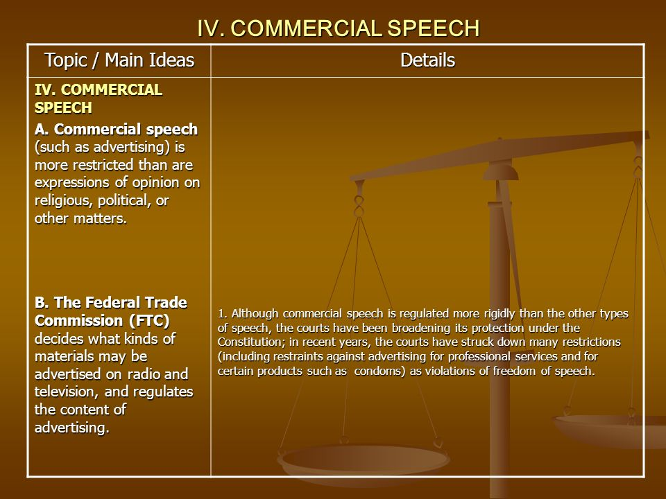 IV. COMMERCIAL SPEECH Topic / Main Ideas Details IV. COMMERCIAL SPEECH