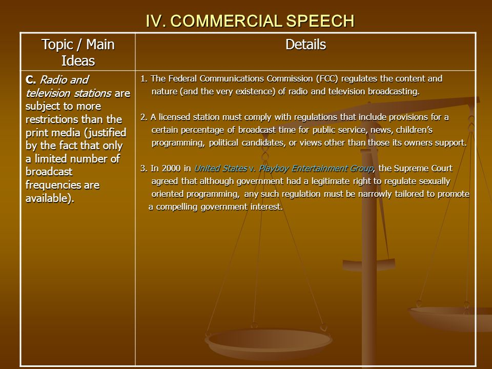 IV. COMMERCIAL SPEECH Topic / Main Ideas Details