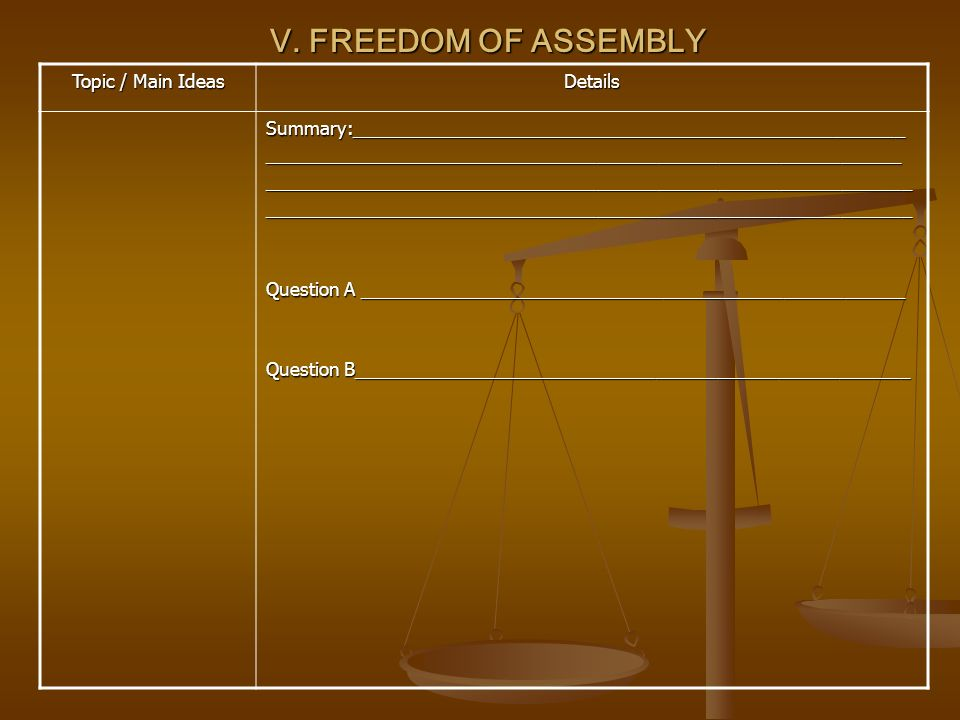 V. FREEDOM OF ASSEMBLY Topic / Main Ideas Details