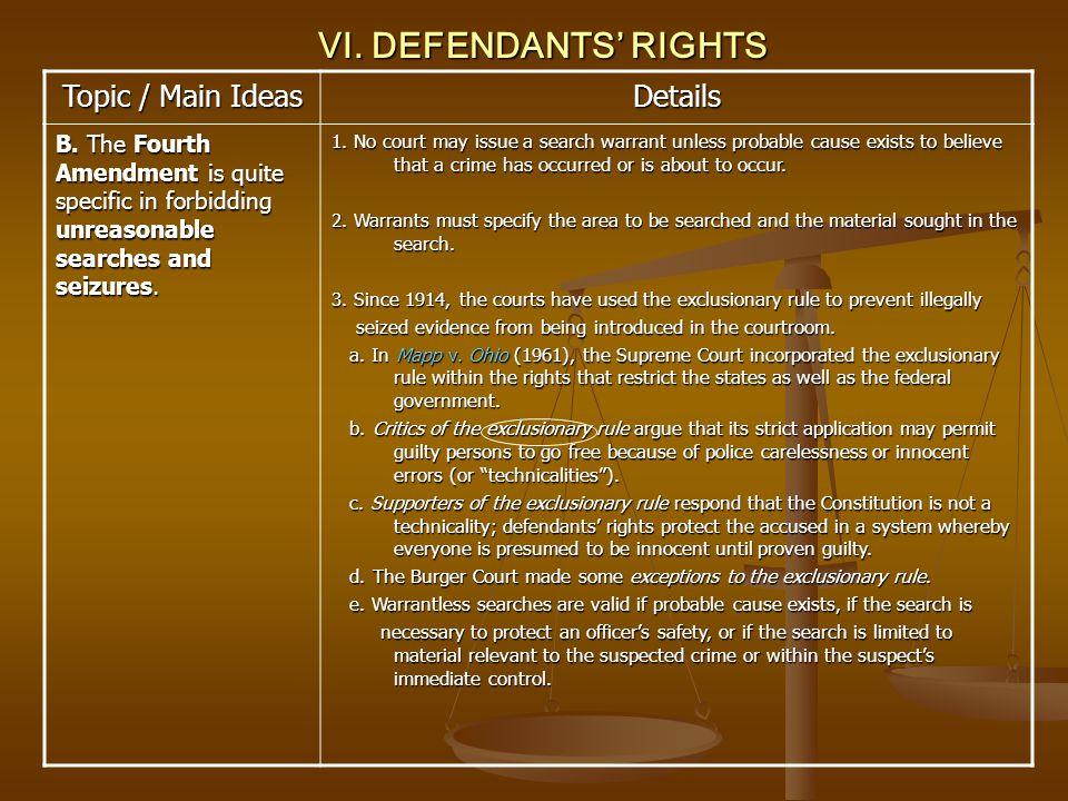 VI. DEFENDANTS' RIGHTS Topic / Main Ideas Details