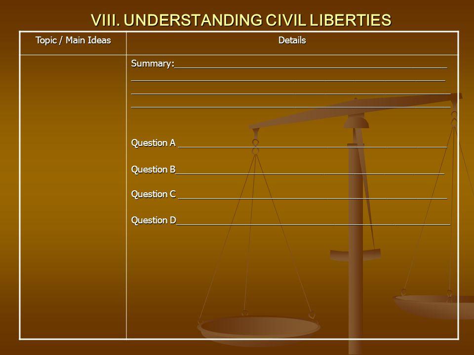 VIII. UNDERSTANDING CIVIL LIBERTIES