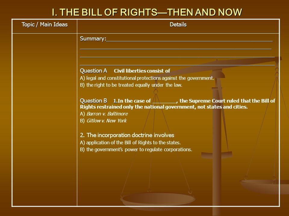 I. THE BILL OF RIGHTS—THEN AND NOW