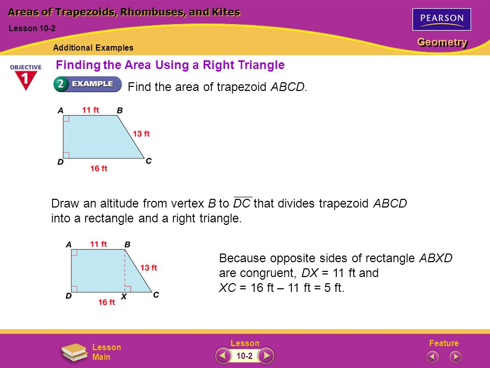 Areas of Trapezoids, Rhombuses, and Kites