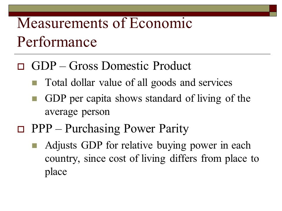 Measurements of Economic Performance