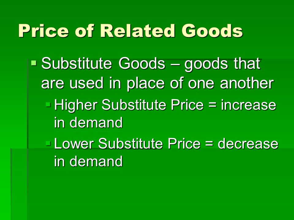 substitute goods Economics for business decisions/theory of demand and  and substitute: complimentary goods:  phptitle=economics_for_business_decisions/theory_of_demand_and.
