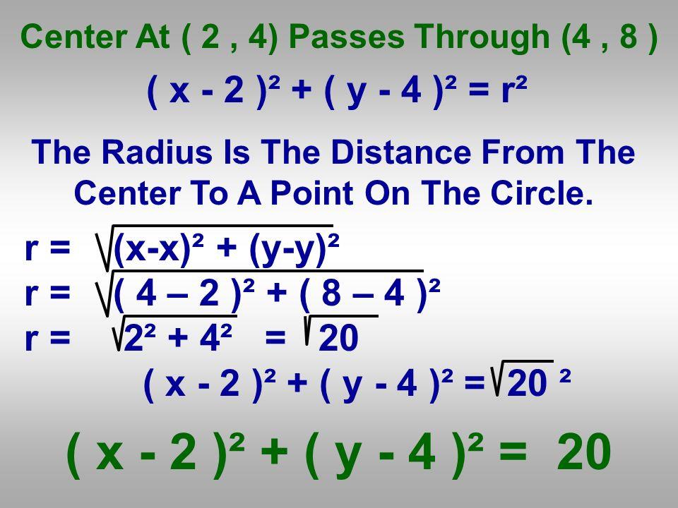 ( x - 2 )² + ( y - 4 )² = 20 r = (x-x)² + (y-y)²
