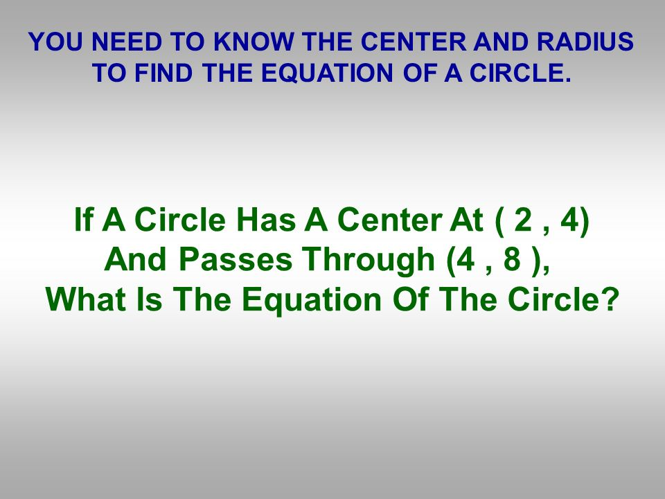 If A Circle Has A Center At ( 2 , 4) And Passes Through (4 , 8 ),