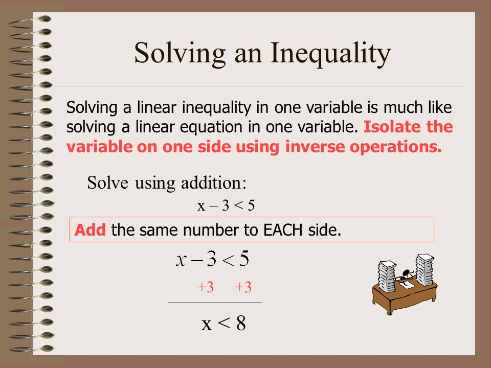 Solving an Inequality x < 8 Solve using addition: