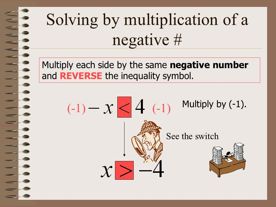 Solving by multiplication of a negative #