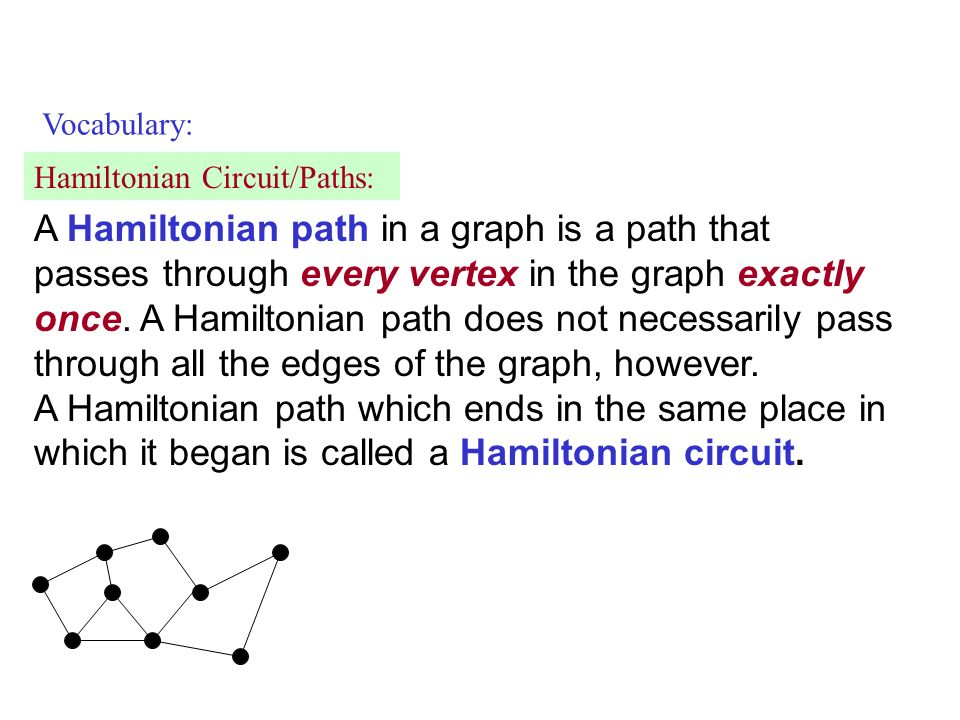 Vocabulary: Hamiltonian Circuit/Paths: