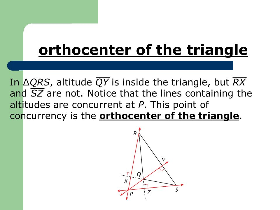 orthocenter of the triangle