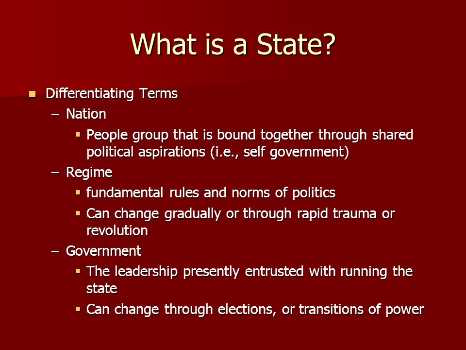 What is a State Differentiating Terms Nation