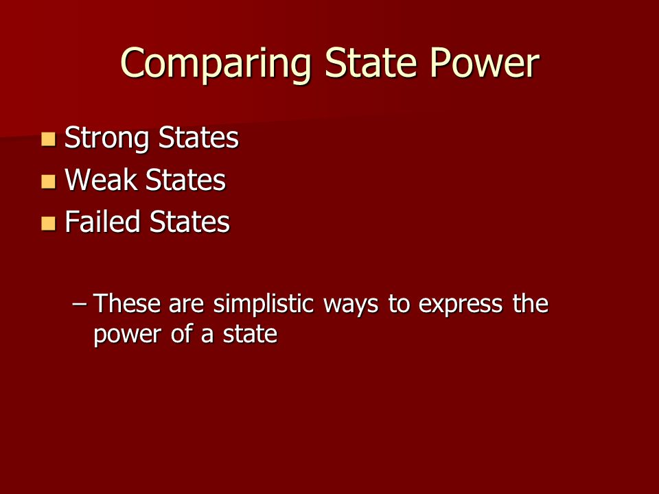 Comparing State Power Strong States Weak States Failed States