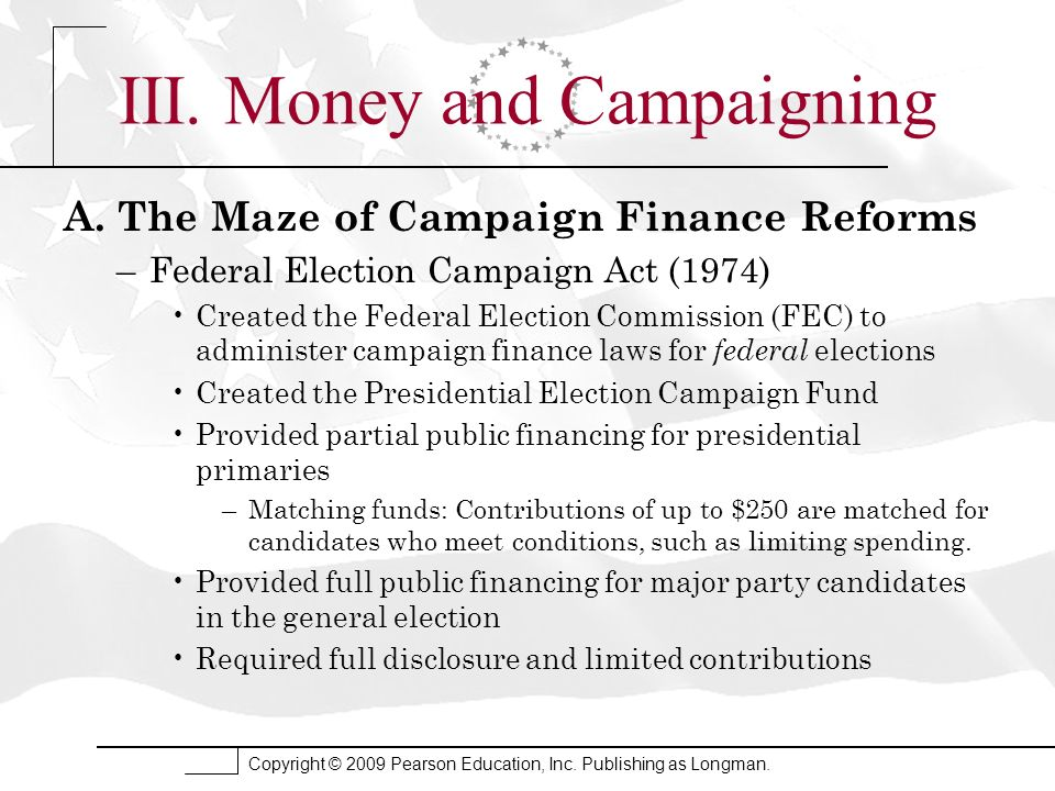 III. Money and Campaigning