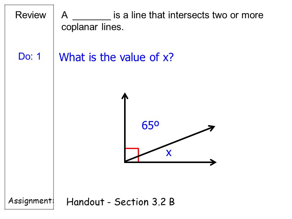 What is the value of x 65º x Review