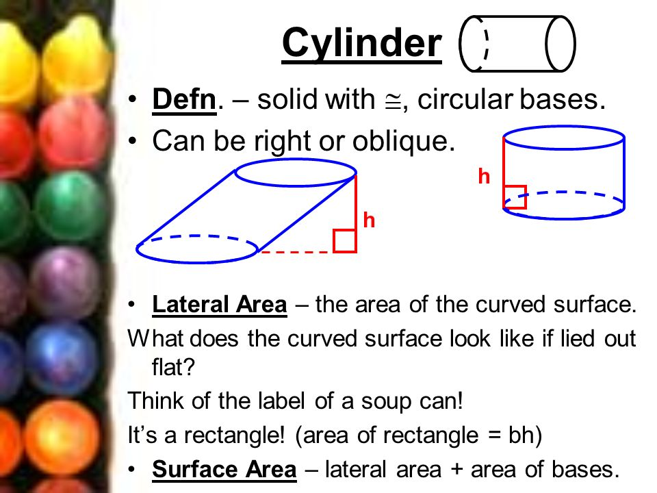 Cylinder Defn. – solid with , circular bases.
