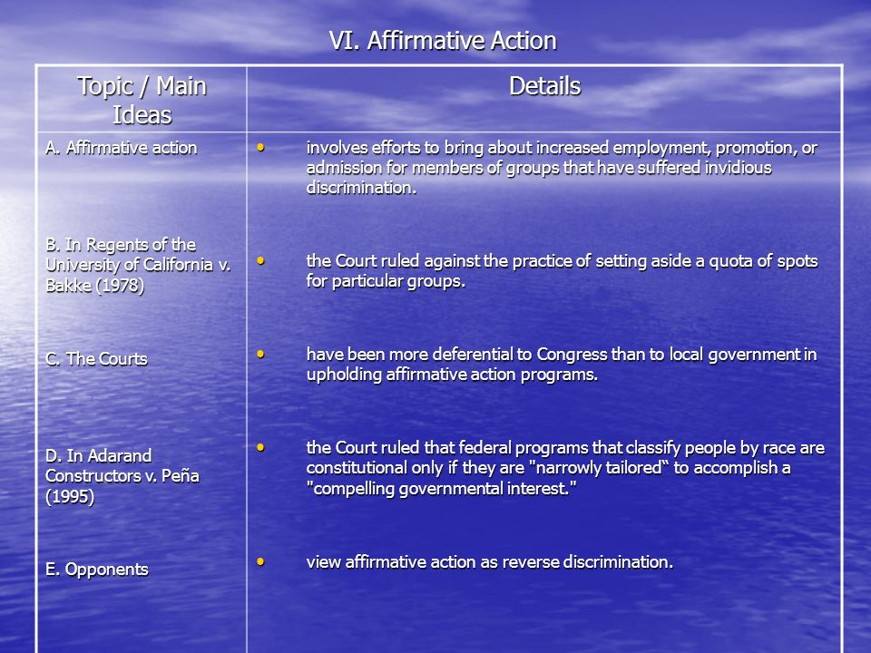 VI. Affirmative Action Topic / Main Ideas Details