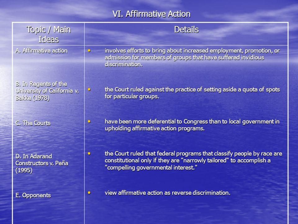 VI. Affirmative Action Topic / Main Ideas Details