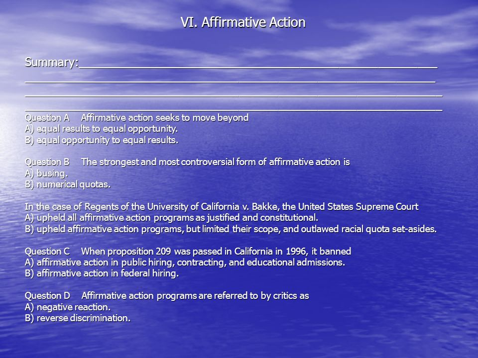 VI. Affirmative Action Summary:_______________________________________________________.