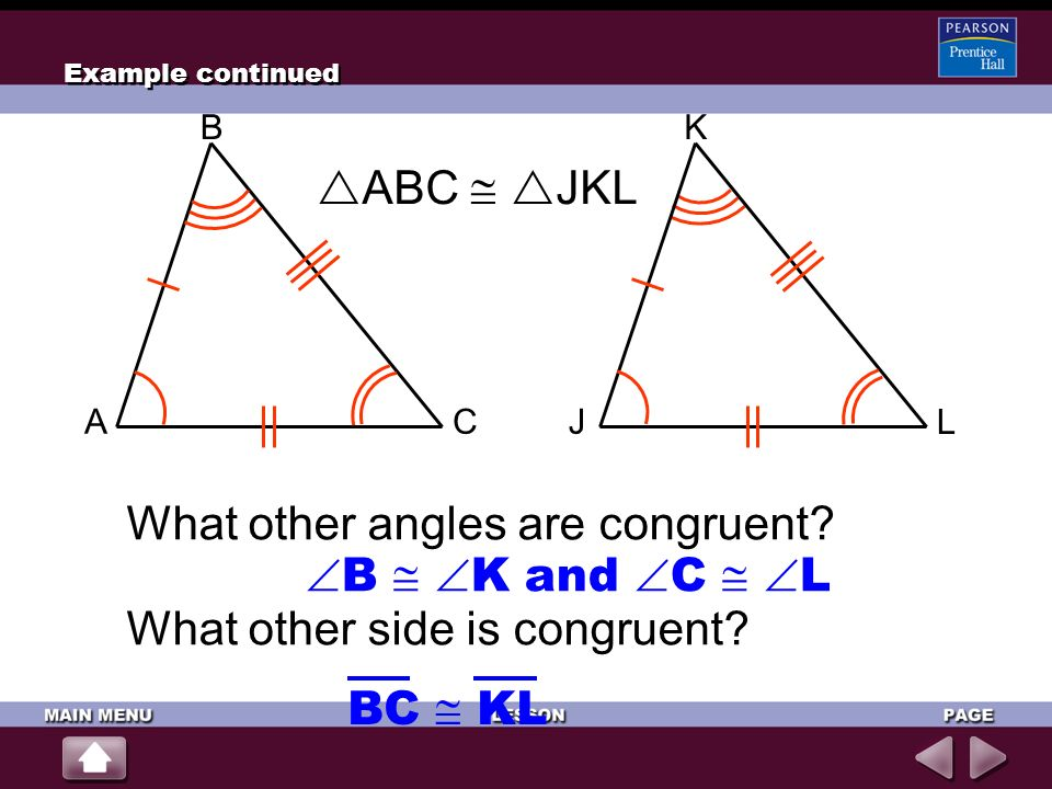 What other angles are congruent B  K and C  L