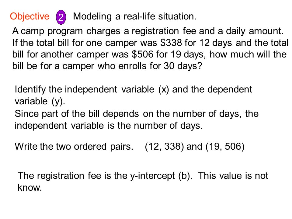 Objective 2 2. Modeling a real-life situation. A camp program charges a registration fee and a daily amount.