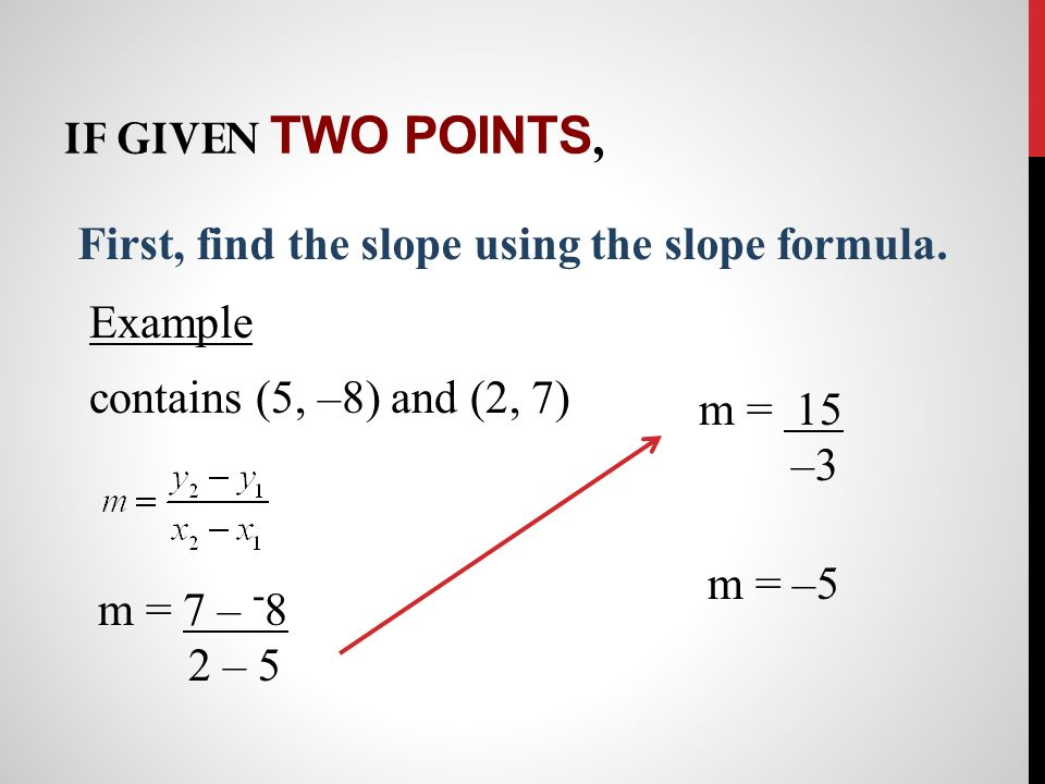 If given two points, First, find the slope using the slope formula.
