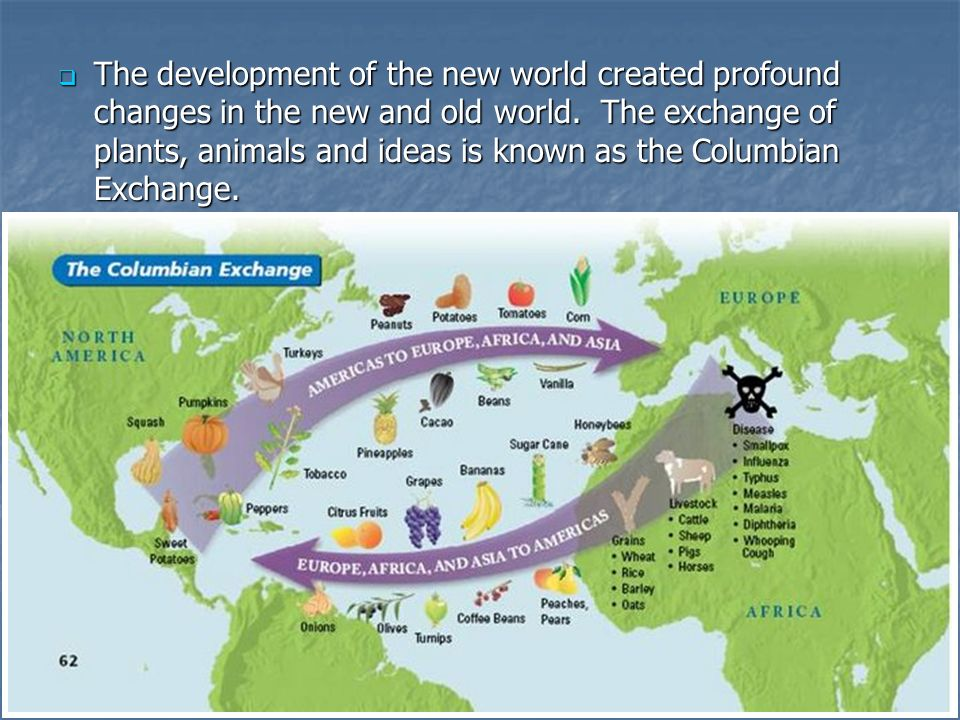 The development of the new world created profound changes in the new and old world. The exchange of plants, animals and ideas is known as the Columbian Exchange.