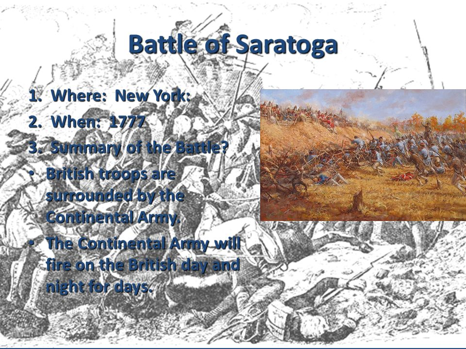 Battle of Saratoga 1. Where: New York: 2. When: 1777