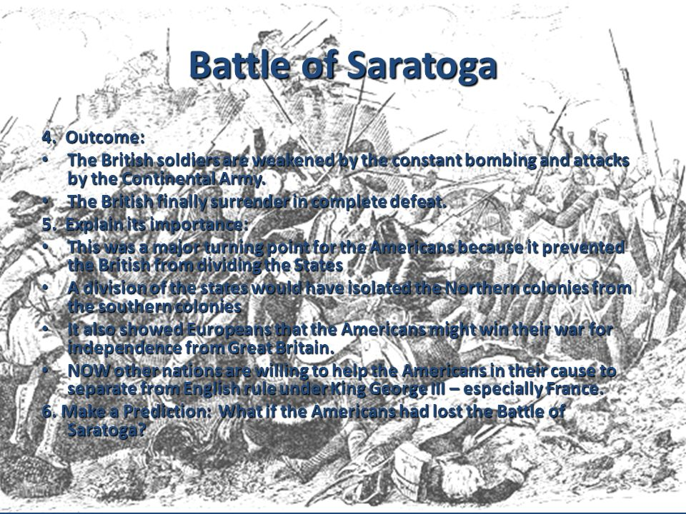 Battle of Saratoga 4. Outcome: