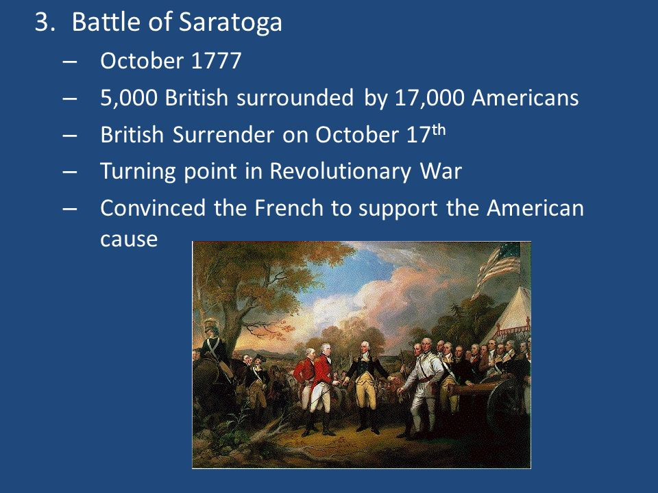 Battle of Saratoga October 1777