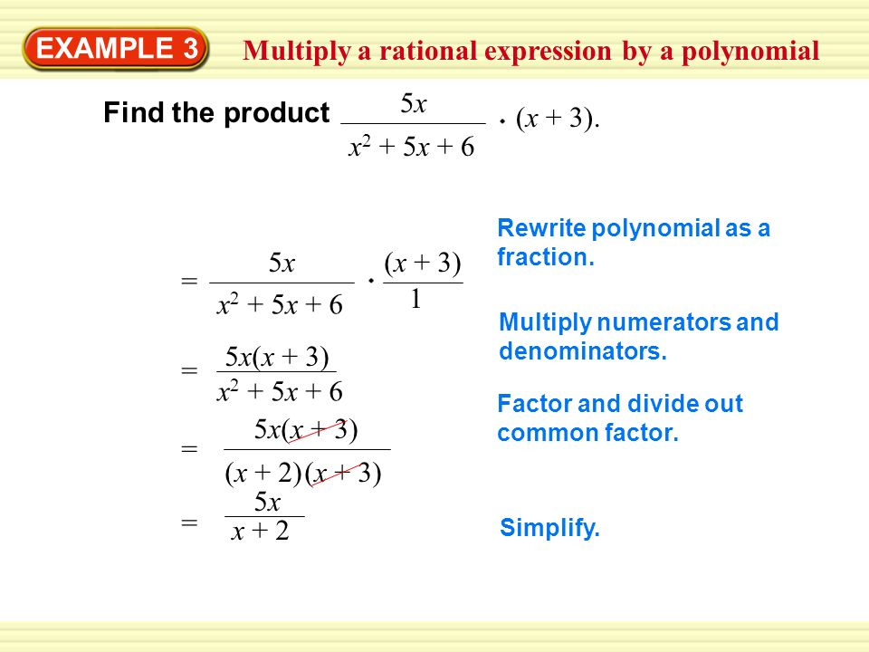 Multiply a rational expression by a polynomial