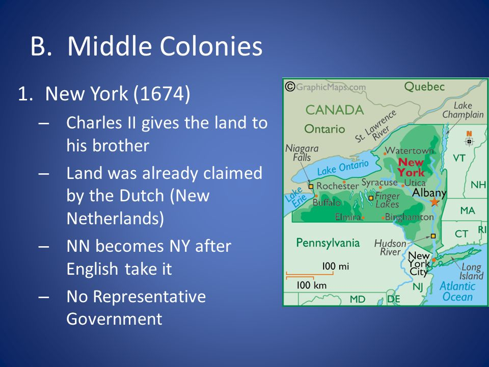 B. Middle Colonies New York (1674)