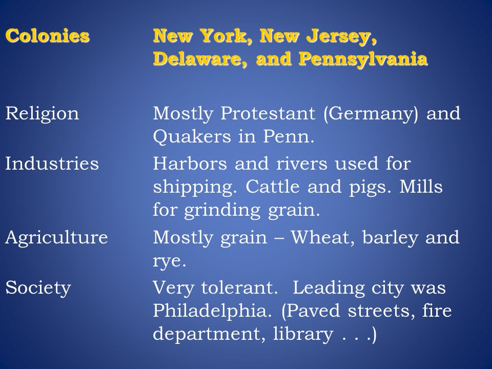 Colonies New York, New Jersey, Delaware, and Pennsylvania Religion Mostly Protestant (Germany) and Quakers in Penn.