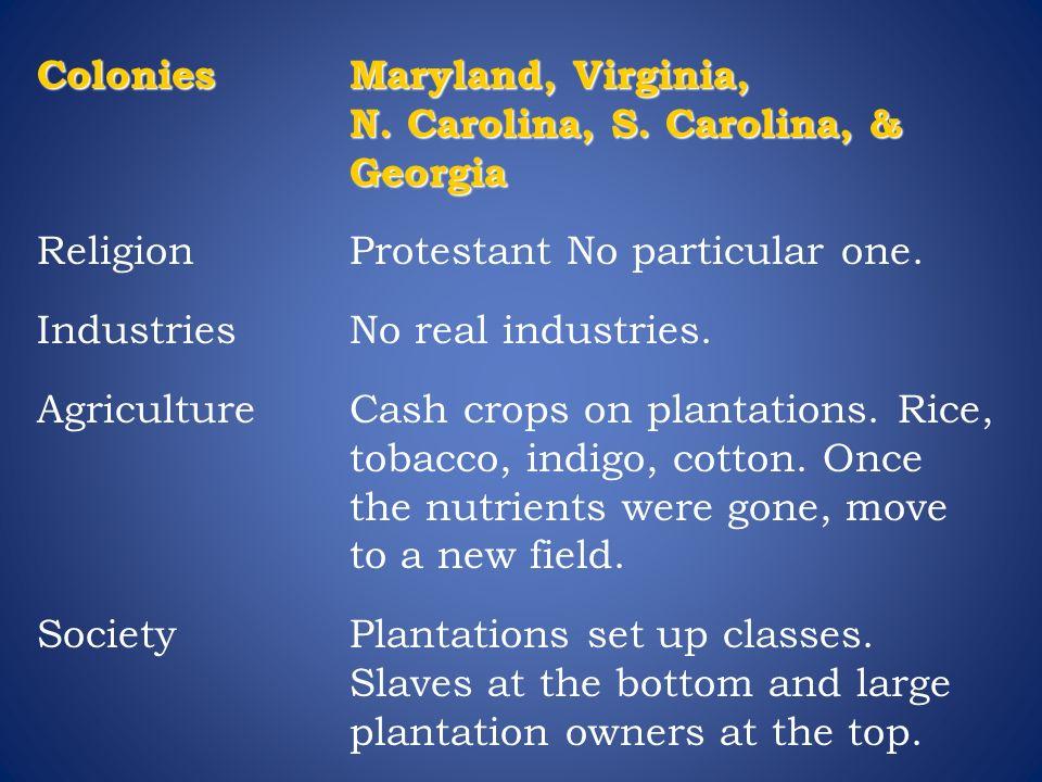 Colonies Maryland, Virginia, N. Carolina, S