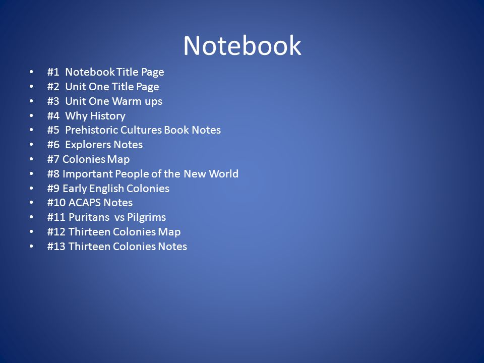Notebook #1 Notebook Title Page #2 Unit One Title Page